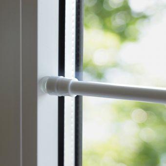 Klemmstange Flex Saugknopf Gardinenstange ohne bohren Vitrage weiß silber Bistro